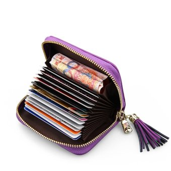 RFID Blocking Card Wallet Genuine Leather Credit ID Card SecurityTravel Wallet/Holder/Case/Purse/Pocket with Zipper for Ladies GirlsPurple - intl