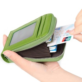 RFID Blocking Genuine Leather Credit Card Case Holder SecurityTravel Wallet Front Pocket Wallets for Men and Women(Green) - intl