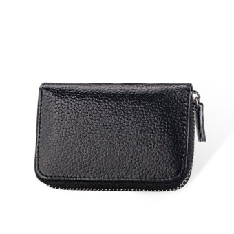 RFID Blocking Leather Wallet - Credit Card Holders Purse- TravelCards Container Black - intl