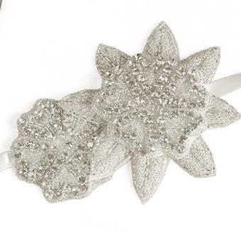Rhinestones Ribbon Decor Women's Bridal Hair Band Headband White