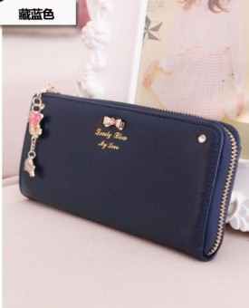 Rinka doll indie women Japanese and Korean style student Women's wallet women's wallet (Navy Blue)
