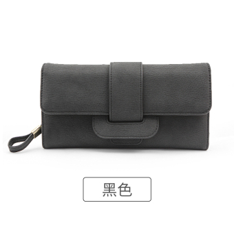Rinka doll Korean-style New style female multi-functional leather wallet (Black)