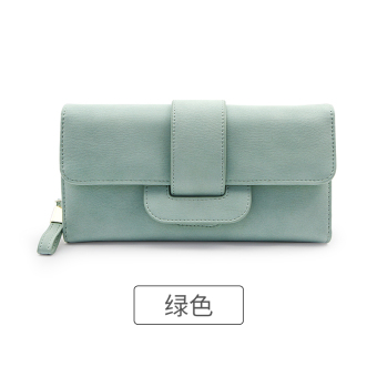 Rinka doll Korean-style New style female multi-functional leather wallet (Green)