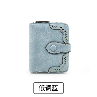 Rinka Doll Korean-style New style multi-functional leather wallet women's small wallet (Low-key blue)
