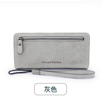 Rinka doll New style female Japanese and Korean style zip leather wallet (Gray)