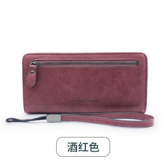 Rinka doll New style female Japanese and Korean style zip leather wallet (Wine red color)
