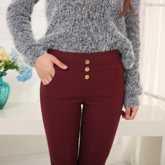Riveted autumn thin Plus-sized pants leggings (Red Wine)