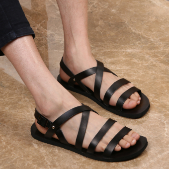 Roman leather New style sandals (Black)