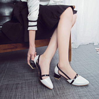 Roman patent leather A-line female high-heeled shoes semi-high heeled pointed shoes (White)