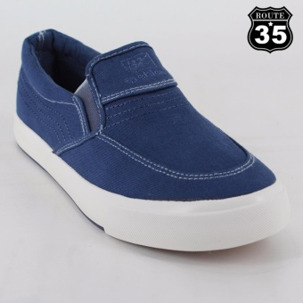 ROUTE35 Morris Slip-on Sneakers Rubber Shoes (Navy Blue A-970)