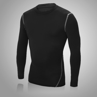 Running basketball compression training clothes base shirt slim fit clothing (Classic models long-sleeved black)