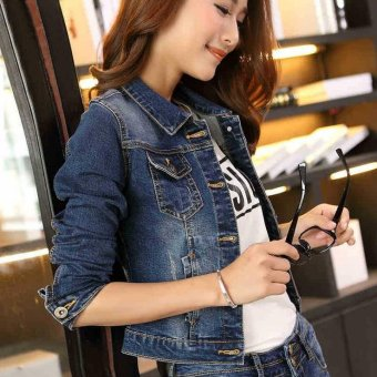 S-3XL Denim Jacket For Women Short Jeans Jacket Women Slim Denim Coat Long Sleeve -Blue - Intl