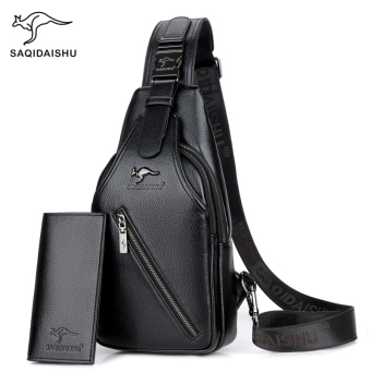 Saatchi Korean-style men soft leather bag chest pack (Embossed leather black + wallet)
