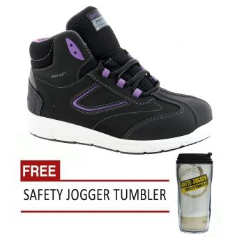 Safety Jogger Beyonce S3 High Cut Women Safety Shoes Footwear SteelToe (Black/Violet) with Free Safety Jogger Tumbler