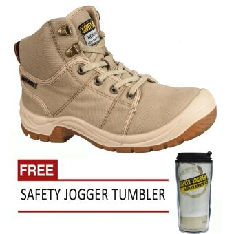 Safety Jogger Desert S1P High Cut Men Safety Shoes Footwear SteelToe (Sand/Brown) with Free Safety Jogger Tumbler