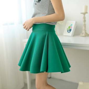 Safety Korean-style pants female Plus-sized umbrella skirt high-waisted half-length skirt (General paragraph-green)
