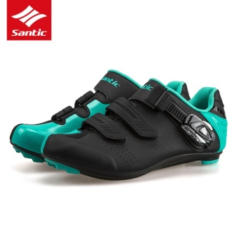 Santic 2017 Men Women Road Cycling Shoes TPU & Nylon BreathableRoad Bike Shoes ATOP Buckle Auto-lock Bicycle Soprt ShoesZapatillas Ciclismo, Black&Blue - intl - 2