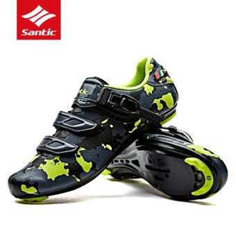 Santic Cycling Shoes Men Road Nylon Soles High Resistance PU UpperVamp Bike Shoes Self-locking 3 Colors Bicycle Shoes, Green - intl