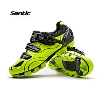 Santic Men MTB Cycling Shoes Auto-lock Bicycle Shoes Mountain Bike For Shimano SPD Eggbeater System Shoes 3 Colors,Black Green - intl - 2