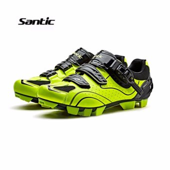 Santic Men MTB Cycling Shoes Auto-lock Bicycle Shoes Mountain Bike For Shimano SPD Eggbeater System Shoes 3 Colors,Black Green - intl