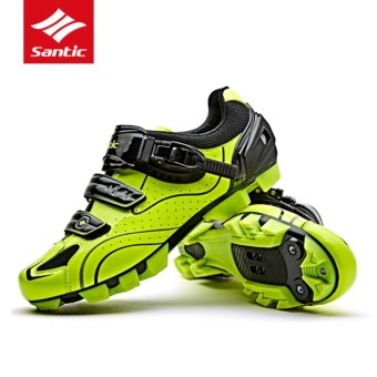 Santic MTB Cycling Shoes Auto-lock Bicycle Shoes Mountain Bike Shoes Men 3 Colors, Fluorescent Green - intl