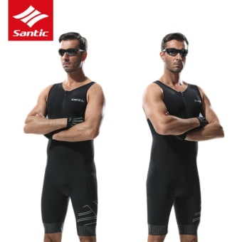Santic Triathlon Cycling Jersey 4D Pad Quick Dry Sleeveless Cycling Skinsuit Bike Jersey Clothes For Swimming Running Riding - 4
