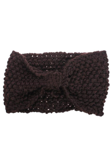 Sanwood Crochet Flower Bow Knitted Headband Hair Muffs Band Coffee - picture 2