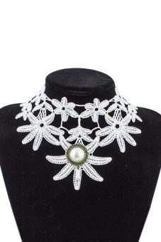 Sanwood Handmade Gothic Lace Flower Choker Necklace White