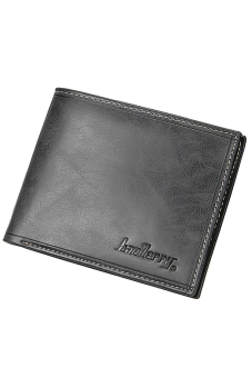 Sanwood Men Bifold Faux Leather Purse Ultra-thin Clutch Black