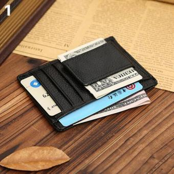 Sanwood(R) Men Faux Cowhide Leather Money Clip Wallet Credit Card ID Holder Business Pocket (Black) - intl