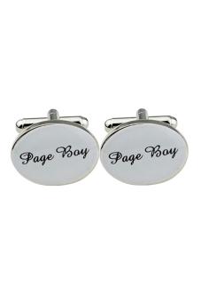 Sanwood Oval Mens Page Boy Wedding Cuff Link Gift Silver