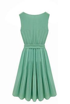 Sanwood Pleated Chiffon Bow Belt Dress Green - picture 2