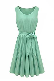 Sanwood Pleated Chiffon Bow Belt Dress Green