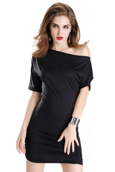 Sanwood Short Sleeve Dress (Black)