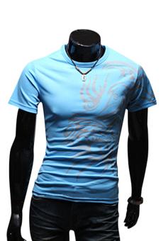 Sanwood Tattoos Printed Short Sleeve T-Shirt Blue