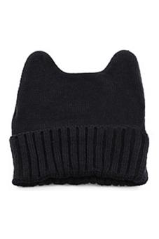 Sanwood Women Cat Ear Shape Knitted Hat Elastic Beanie Cap Black