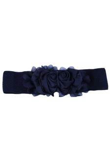 Sanwood Women's Flower Elastic Waist Belt Black