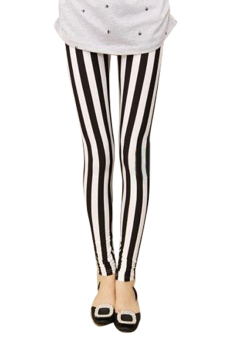 Sanwood Women's Stripes Black+White Vertical Stripes Leggings