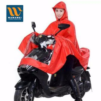 Scooter Multipurpose Waterproof Cape Lengthen Raincoat PonchoHigh Quality Rain Coat with Hood (Red)