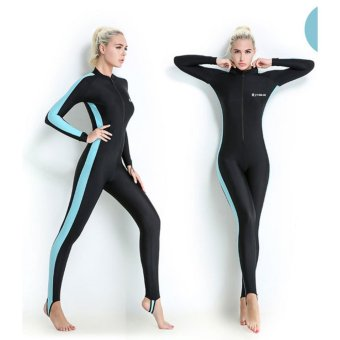 Scuba Snorkeling Swim Lycra Skin Full Suit Wetsuit Modest Swimwear- Blue - intl