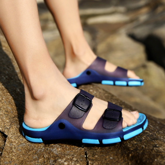 Sea to slip porous shoes sandals (Dark blue color)