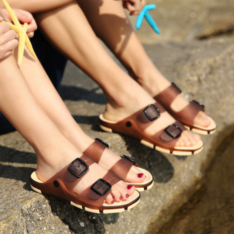 Sea to slip porous shoes sandals (Deep Brown)