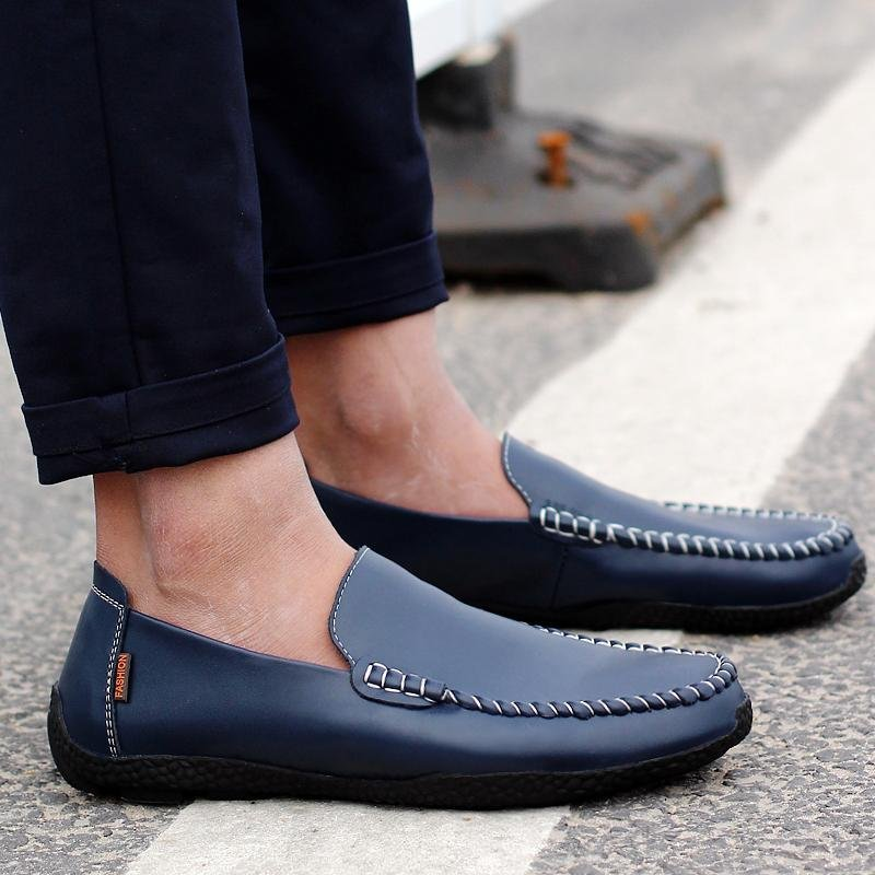 Seanut Fashion Genuine Leather Casual Loafers Men Driving Shoes(Dark Blue) - intl ...