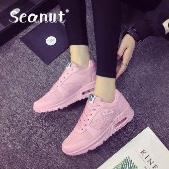 Seanut Fashion Korean Women Shoes Spring Tenis Feminino Casual Shoes Outdoor Walking Shoes Women Flats Lace Up Ladies Shoes(Pink) - 2