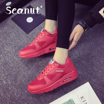 Seanut Fashion Korean Women Shoes Spring Tenis Feminino Casual Shoes Outdoor Walking Shoes Women Flats Pink Lace Up Ladies Shoes(Red)