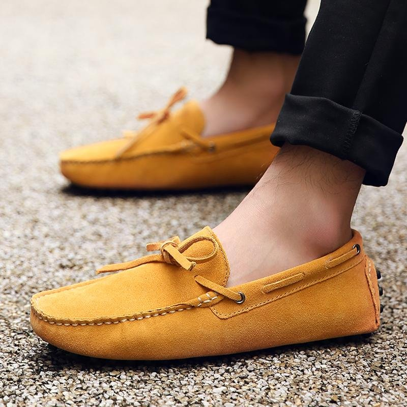 Seanut Fashion Leather Slip On Men Loafers Casual Shoes (Yellow) -intl ...