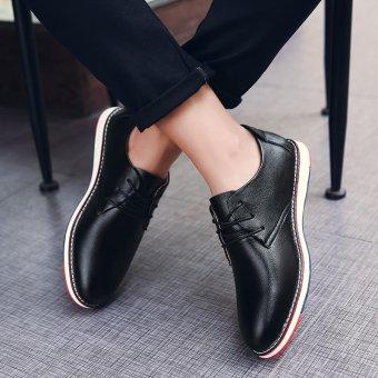 Seanut Fashion Men's Casual Shoes Lace Up Split Leather Shoes(Black) - intl - 5