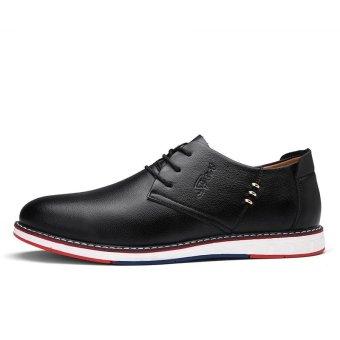 Seanut Fashion Men's Casual Shoes Lace Up Split Leather Shoes(Black) - intl - 3