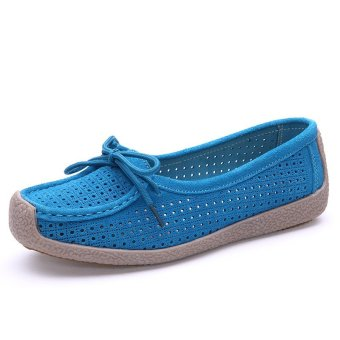 Seanut Fashion Women Casual Breathable Slip-On Leather Loafers (Blue) - intl - 3