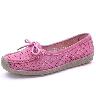 Seanut Fashion Women Casual Breathable Slip-On Leather Loafers (Pink) - intl - 3